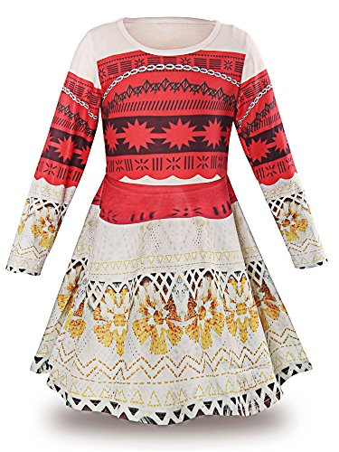 JerrisApparel Princess Moana Long Sleeve Costume Party Dress Up for Girls (4T, Multicolored) -