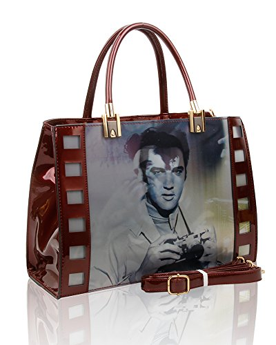 Shopper Women 29 For Effect Presley 3D Burgundy Elvis Tote 2 Bag Handbag 5x35x12 Size cm Print xfYWRwHqA