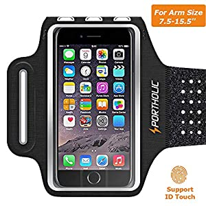 Sweat Resistant Armband Fits iPhone Xs Max XR X 8 7 6 6s Plus PORTHOLIC Phone Running Holder Sports Workout Case for Samsung GalaxyS10 S9+ S8 S7Edge Note 9 10 Huawei p30 LG [Stretchy] 7-18 Inch Arm