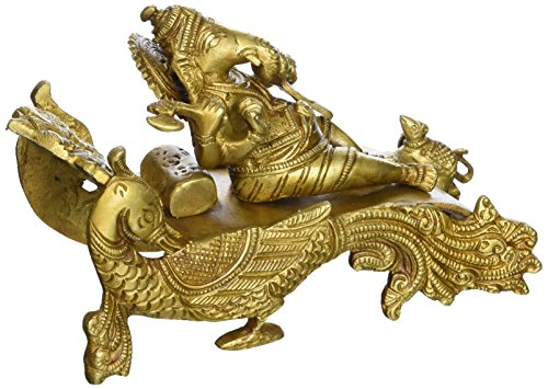 Brass Peacock (Brass Statue Ganesha Sitting on a Peacock Chariot Hindu Idol for Home Decor 4.5 Inches)
