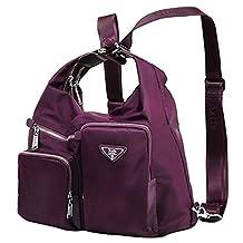 Fashion Versatile Backpack Nylon Student Schoolbag Stylish Daily Casaul Crossbody Shoulder Bag for Women Ladies, Work Weekend Outdoor Sport Travel, Purple, Laifu