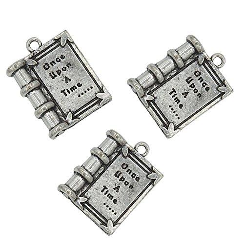 Yansanido Pack of 10 Alloy Silver ''once upon A Time'' 3D Book Shape DIY Antique Message Charms Pendant for Making Bracelet and Necklace (once upon A Time)