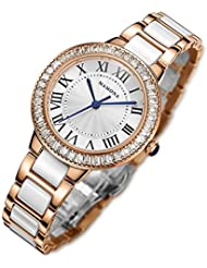 MAMONA Womens Quartz Watch Crystal Accented Ceramic and Stainless Steel White and Rose Gold L68008RG