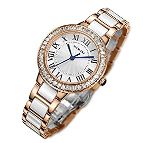 MAMONA Women's Quartz Watch Crystal Accented Ceramic and Stainless Steel White and Rose Gold L68008RG