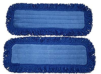 "18"" IdaSmart Microfiber Professional Grade Dust Mop Pads 2 Pack of Reusable Replacement Pads Mop Pads 