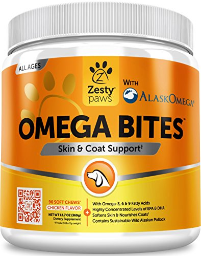 Supplements Dogs Coat Skin (Omega 3 Alaskan Fish Oil Chew Treats for Dogs - With AlaskOmega for EPA & DHA Fatty Acids - For Shiny Coats & Itch Free Skin - Natural Hip & Joint Support + Promotes Heart & Brain Health - 90 Count)