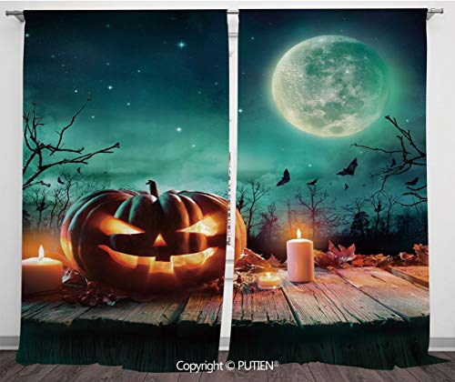 Satin Window Drapes Curtains [ Halloween,Fantastic Magic Night Spooky Atmosphere Candles Pumpkin on Wooden Planks Print,Multicolor ] Window Curtain Window Drapes for Living Room Bedroom Dorm Room Clas]()