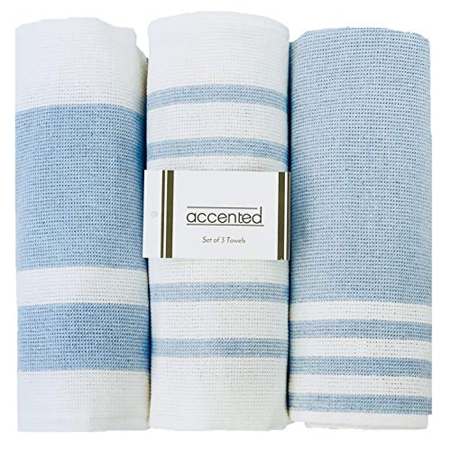 Accented Kitchen Towels, Set of 3 - Thick, Fast Drying, Absorbent Tea Towels - Turkish Cotton Dish Towel Set with Hanging Loop - (26 x 19 inches) (Baby Blue)