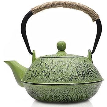 Japanese Style Asian Made Cast Iron Zen Teapot Dusk Blue Bamboo Motif Tea pot