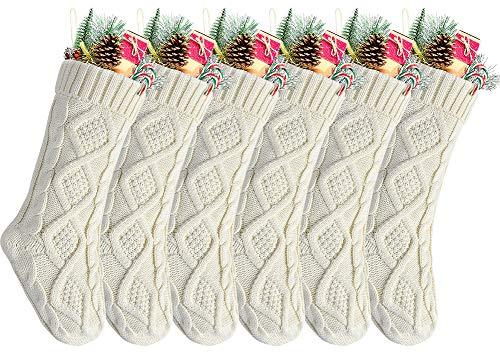 "Kunyida Pack 6,18"" Unique Ivory White Knit Christmas Stockings, Style2"