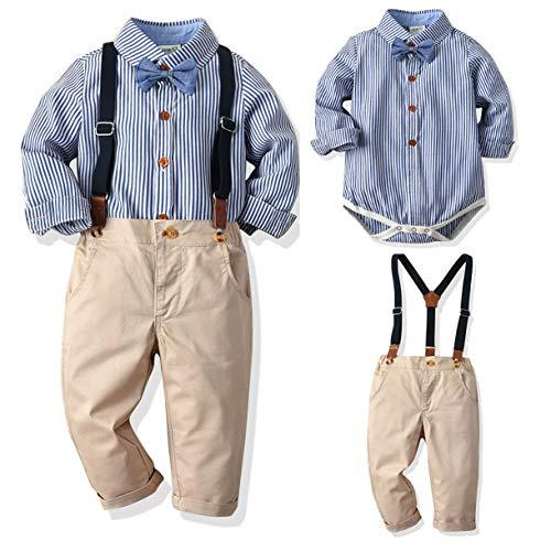 Qinngsha Baby Jongens Kleding Herfst en Winter Mode Klassieke Stijl Sets Strikbanden Shirts + Bretels Broek Peuter…