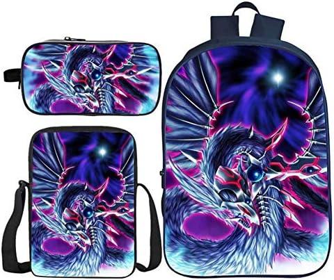 Empty Studenten Bookbags 3D Yugi MUTO Muster Wasserdicht Grundschultaschen-Rucksack mit Lunch Box-Feder-Kasten for Jungen-Mädchen 3 Stück, j (Color : K)