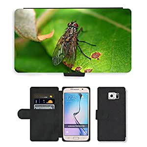 PU LEATHER case coque housse smartphone Flip bag Cover protection // M00111353 Fly Leaf Macro verde Insecto Naturaleza // Samsung Galaxy S6 (Not Fits S6 EDGE)