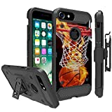 Apple iPhone 6, iPhone 7, iPhone 8 (4.7') Case by UNTOUCHBLE [TANK SERIES] Unique Design Heavy Duty Cover Shell with Kickstand Holster Belt Clip Combo - Basketball Fire