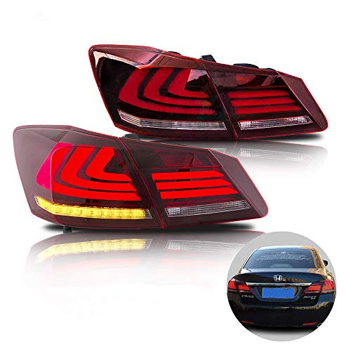 - MOSTPLUS RED Clear LED Brake Tail Lights for 2013-2015 Honda Accord 4 Door Sedan Set of 2