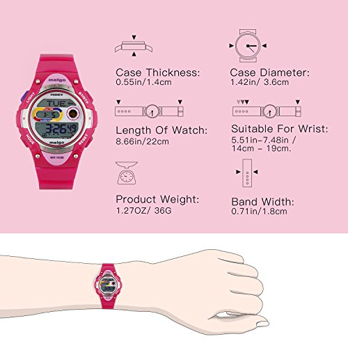 Jewtme Pasnew LED Waterproof 100m Sports Digital Watch for Children Girls Boys (Pink) by PASNEW (Image #4)