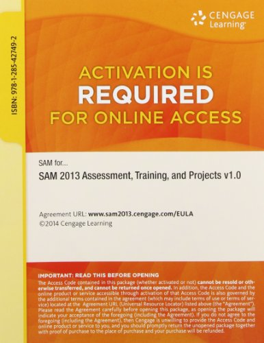 SAM 2013 Assessment, Training, and Projects v1.0 Printed Access Card (Sell Textbooks Best Price)