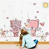 Cute Bear In Love Flower PVC Wall Stickers Home Decor Kids Baby Nursery Home Decor