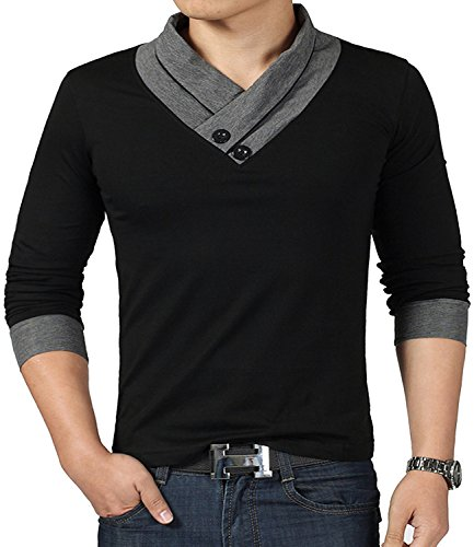 YTD 100% Cotton Mens Casual V-Neck Button Slim Muscle Tops Tee Long Sleeve T-Shirts (US X-Large, Long Sleeve Black) ()