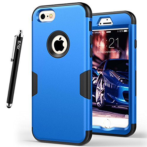 iPhone 6 Case, E LV iPhone 6S Case - SHOCK ABSORPTION / HIGH IMPACT RESISTANT Full Body Hybrid Armor Protection Defender Case Cover for Apple iPhone 6S / 6 [DARK BLUE/BLACK]