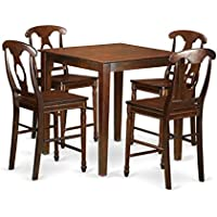 East West Furniture VNKE5-MAH-W 5 Piece Counter Height High Table and 4 Chairs Set