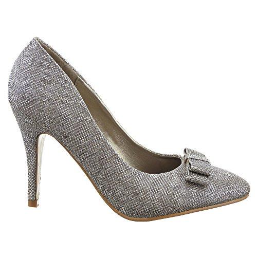Sopily - Scarpe da Moda scarpe decollete Decollete Stiletto decollete da sera alla caviglia donna lucide flashy nodo 10 CM - Oro