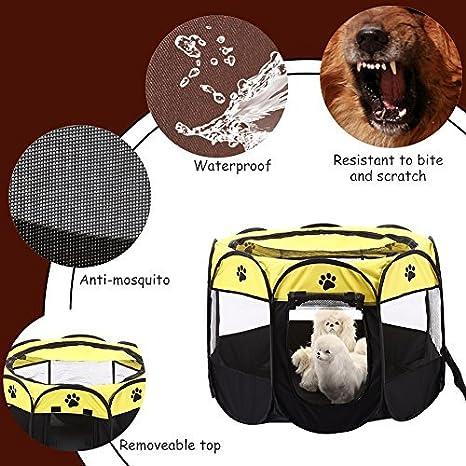 Beitsy Yellow - Jaula plegable para mascotas, gatos, conejos, 8 lados de tela: Amazon.es: Hogar