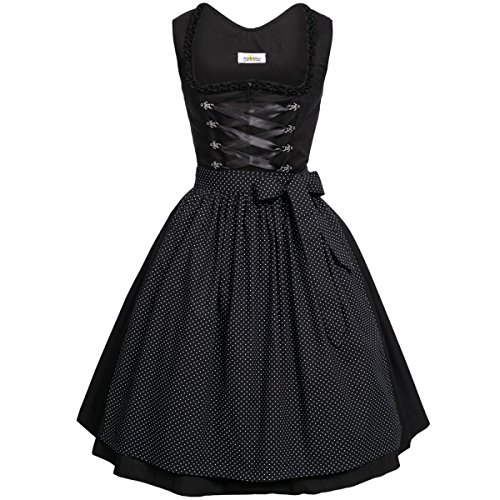 BEST-PRICE Midi Dirndl Amelie in schwarz von Almsach, Größe:48;Farbe:Schwarz