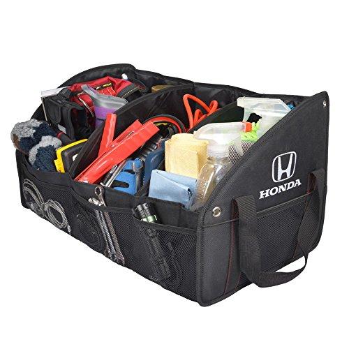 BDK Honda T22893-HDTO-100 Oxford Polyester 4-Compartment Folding Trunk Organizer with Mesh Pockets  Cloth (Honda Trunk Organizer)