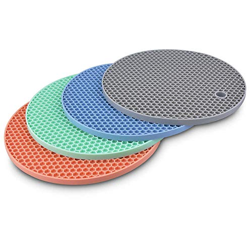 Silicone Trivets Pot Mat Round,Pan Pot Holders Set Heat Resistant Non Slip Silicon Hot Dish Trivet for Kitchen Dining Table BPA Free Honeycomb Thick Heavy Duty 7 inch 4 Pack (Grey,Blue,Green,Pink)