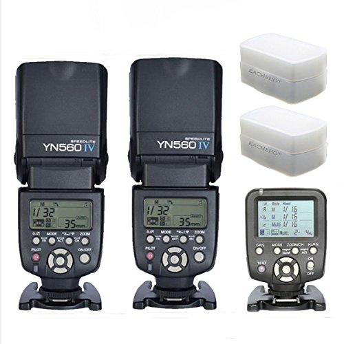 YONGNUO 2pcs YN-560 IV Flash Speedlite With 560TX-C Transmitter for Canon EOS 5D,5D25D Mark II,1D,7D, 60D ,50D, 40D, 30D, 600D, 550D, 500D, 450D, 400D, 350D ,300D,1100D,6D With 2pcs EACHSHOT® Diffuser by YONGNUO