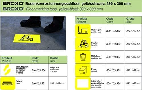 BROXO Floor marking signs, floor marking, hall marking, pictogram package, set of 5, yellow/black