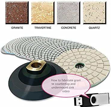 "Glaze Buff Glass Granite Concrete tile marble care 4/"" Diamond Polishing 12 Pad"
