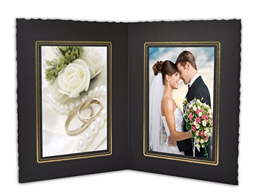 Golden State Art, Cardboard Photo Folder for Double 4x6 Photo (Pack of 50) GS004 Black Color