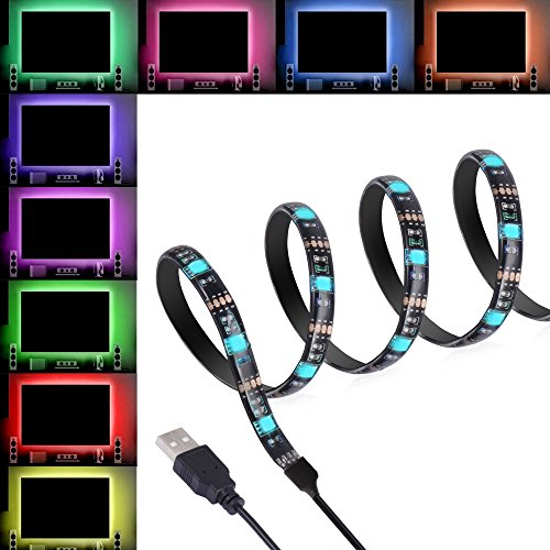 TV Backlight Kit Bias Lighting USB Led Strip RGB for TV Desktop PC, ANSCHE Stick-on Anyplace LED Rope Color Changing Background Ambient Lighting Waterproof Decoration Mood Lights