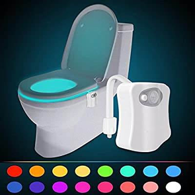 LuckyStone Motion Activated Toilet Night Light 16 Color Changing LED Toilet Seat Light Motion Sensor Toilet Bowl Light Detection