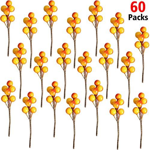 360 Piezas de Bayas de Acebo Artificial Bayas de Invierno de Navidad Manojo de Arandano Falso en 60 Tallos para Centro de Mesa (Naranja R
