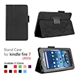 Fire 7 20115 Case Lumcrissy Ultra Slim Smart Shell Lightweight Tri-fold Stand Cover for Amazon Fire 7 Inch Tablet(5th Generation 2015 release) (Black)