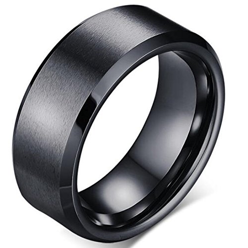 Jude Jewelers 8mm Brushed Matte Black Titanium Stainless Steel Classical Simple Plain Ring Wedding Band (Stainless-Steel, 11)