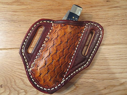 Handmade Leather Sheath for CASE TRAPPER or STOCKMAN or similar size. Brown & Saddle tan dyed leather. Textured