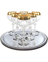 Italian Collection 'Sabrina' 9 Oz Crystal Wine Goblets Glasses, 24K Gold-Plated, Italian Made.