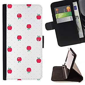 Red Polka Dot White Apple Design - Modelo colorido cuero de la carpeta del tirón del caso cubierta piel Holster Funda protecció Para Samsung Galaxy S4 Mini i9190 (NOT S4)