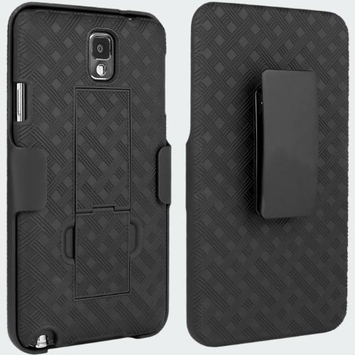 VERIZON BLACK CASE SHELL BELT CLIP HOLSTER STAND COMBO FOR SAMSUNG GALAXY NOTE 3 III N900V (also fits AT&T N900WB, Sprint N900P, Tmobile N900T, US Cellular N900R4, Unlocked SM-N9000/SM-N9005)