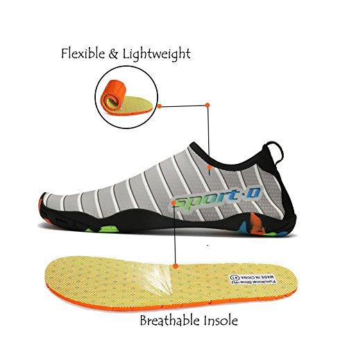Lxso Uomo Donna Scarpe Da Ginnastica Slip On Quick Dry Beach Shoes Scarpe Da Nuoto Leggere Con Fori Di Drenaggio Grigio
