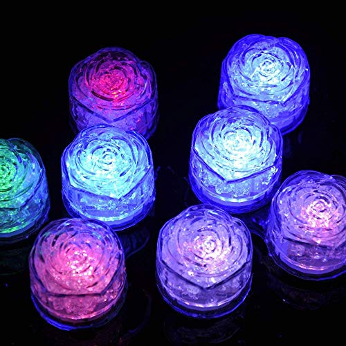 Simulation Ice Cube - 12pcs Plastic Multi-Color Luminous Ice Cube with Colorful Light for Halloween Party Wedding Club Bar Champagne Tower Decoration (24PCS) by CLOVERHOME (Image #3)