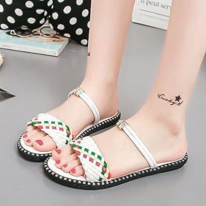 5997da33d KPHY Pretty/Zapatos de mujer/Verano Sandalias Zapatillas Zapatos De Mujer  Tacon Bajo Tipo De Letra El Fondo Grueso Frío Remolque.