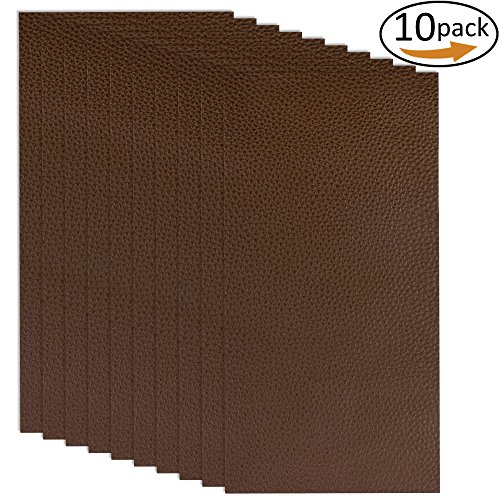 10 Pieces Leather Patches Leather Repair Kit for Couch Furniture Sofas Car Seats Handbags Jackets (Dark Brown) by Augshy