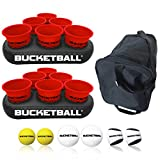 BucketBall - Team Color Edition - Party Pack (Red/Red): Original Yard Pong Game: Best Camping, Beach, Lawn, Outdoor, Family, Adult, Tailgate Game