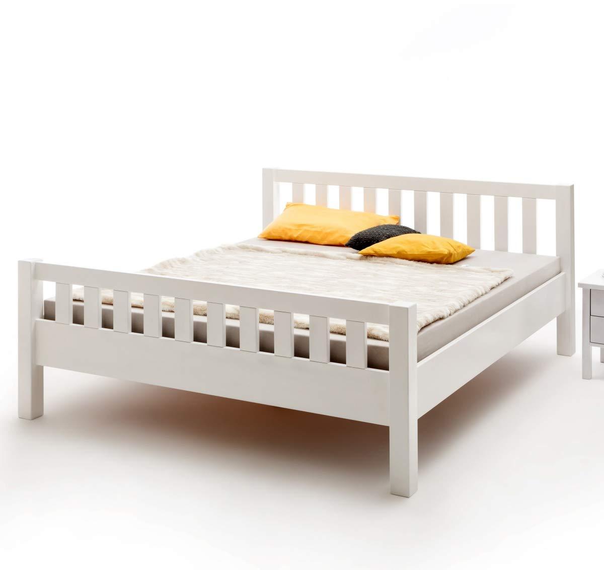 Bett Massivholz Buche weiß lackiert mit Kopf- und Fußteil 180x200