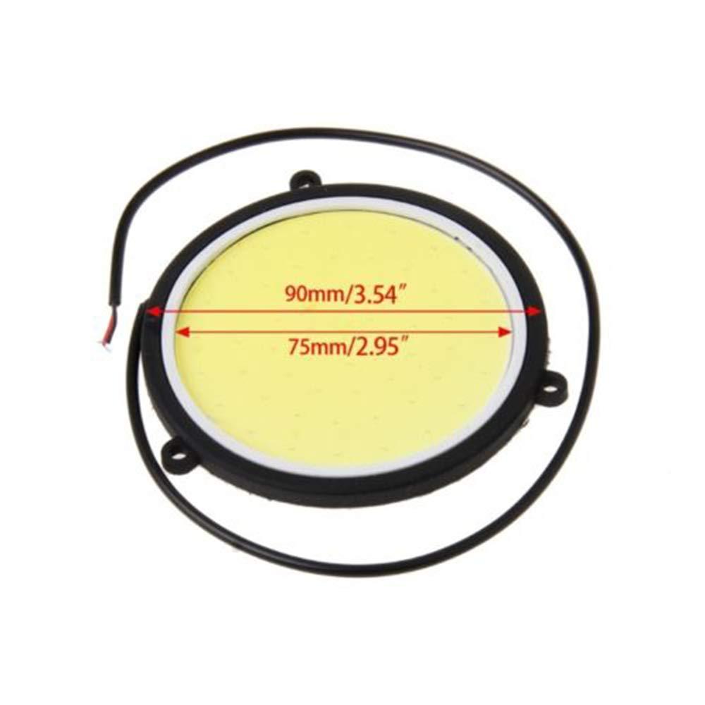 2PCS 12V 90 millimetri auto COB luci DRL luce di marcia diurna flessibile forma rotonda luci LED bianche